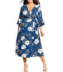 plus size women's city chic sapphire bloom faux wrap dress, size x-large - blue