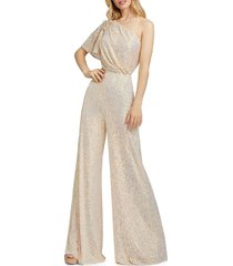 mac duggal women's one-shoulder sequined jumpsuit - champagne - size 4