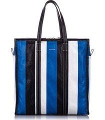 balenciaga m bazar shopper lambskin leather tote bag blue, multi sz: e