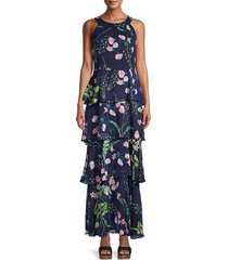 tommy hilfiger women's avignion tiered floral maxi dress - sky captain - size 2