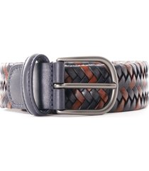 anderson's stretch woven leather belt | navy/brown | a2915-001