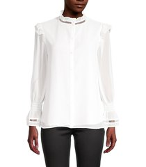calvin klein women's button-front ruffled top - soft white - size m