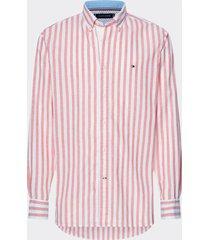 camisa de rayas en algodón y lino multicolor tommy hilfiger