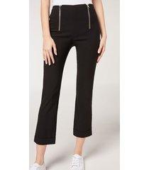 calzedonia double zip cigarette leggings woman black size s