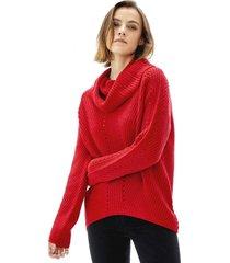sweater cuello alto mujer rojo corona