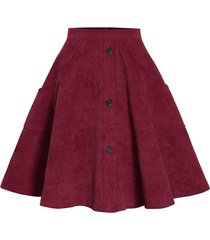 corduroy mock button pocket skirt