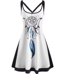 dreamcatcher print o ring strappy tank dress