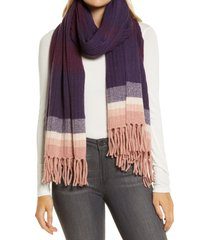 women's halogen stripe cashmere scarf, size one size - purple
