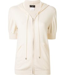 chanel pre-owned cashmere hooded zipped cardigan - white