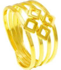 anel horus import lighting ii quatro fios banhado em ouro amarelo 18 k - 1010092