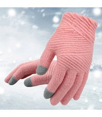 donna inverno caldo tinta unita full-finger guanti outdoor casual touch screen antivento guanti