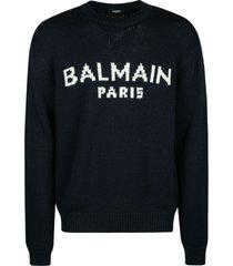 balmain knit logo sweater