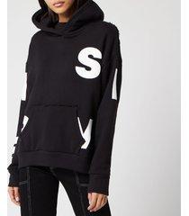 simon miller women's boise hoodie - black/white block screen - m
