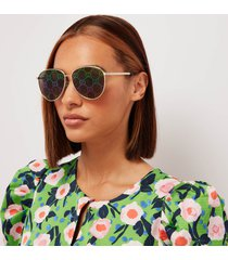 gucci women's logo detail aviator sunglasses - gold/multicolor