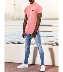 hombres ripped knee hole streetwear style skinny fit jeans