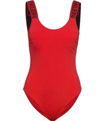scoop back piece baddräkt badkläder röd calvin klein