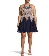 plus size women's xscape embellished fit & flare cocktail dress