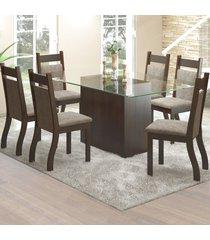 mesa de jantar 6 lugares ambar nogueira/dakota - viero móveis