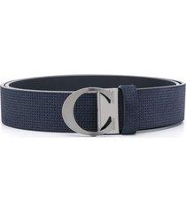 canali textured suede belt - blue