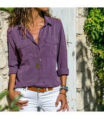 formal de mujer sexy de manga larga con cuello en v camiseta tops-púrpura