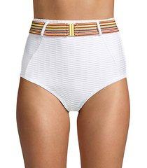 high-waist belted & textured bikini bottom