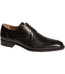 handmade mens wingtip derby formal leather shoes, men black dress leather shoes