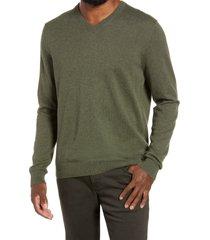 men's nordstrom men's shop cotton & cashmere v-neck sweater, size medium - green