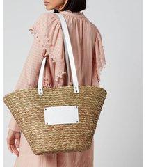 núnoo women's large wicker tote bag - nature/white