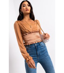 akira my suga boo satin and mesh corset blouse