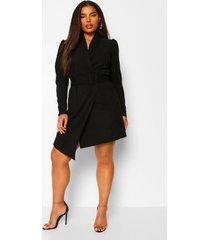 blazer jurk plus met riem, black