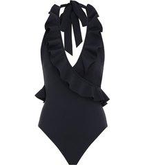 cassia frill wrap one piece in noir