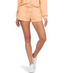 women's roxy check out drawstring sweat shorts, size small - coral