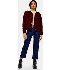 burgundy corduroy borg jacket - burgundy