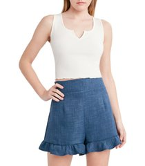 bcbgeneration ribbed henley cropped top