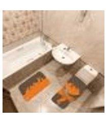 jogo de banheiro páscoa coelhos marrom único