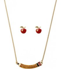 betsey johnson pencil jewelry set, 2 piece