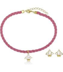 conjunto infantil gargantilha e brinco coroa de cristal di capri semi jóias x ouro dourado