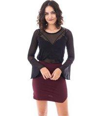 blusa moda vício manga flare tule feminino