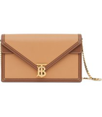 burberry small two-tone envelope clutch bag - brown