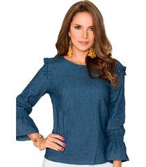 blusa salma azul para mujer croydon