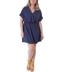 black tape plus size simple knit faux-wrap dress
