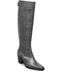 western knee high höga stövlar grå ganni