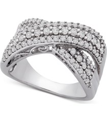 diamond crossover statement ring (1 ct. t.w.) in sterling silver