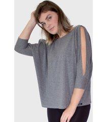 blusa manga vazada cinza mescla