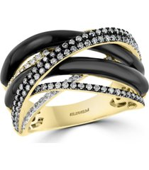 effy multi-color diamond (5/8 ct. t.w.) & onyx (22-1/2mm) statement ring in 14k gold