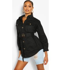 belted button utility jacket, black