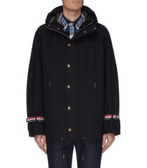 stripe cuff snap up hooded jacket