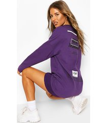 petite oversized back print sweat dress, purple