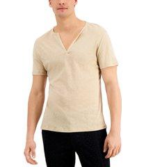 inc international concepts men's textured deep split-neck t-shirt, created for macy's