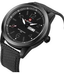 reloj hombre naviforce militar análogo fechador correa nylon